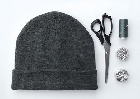 تزیین کلاه بافتنی با دوخت نگین